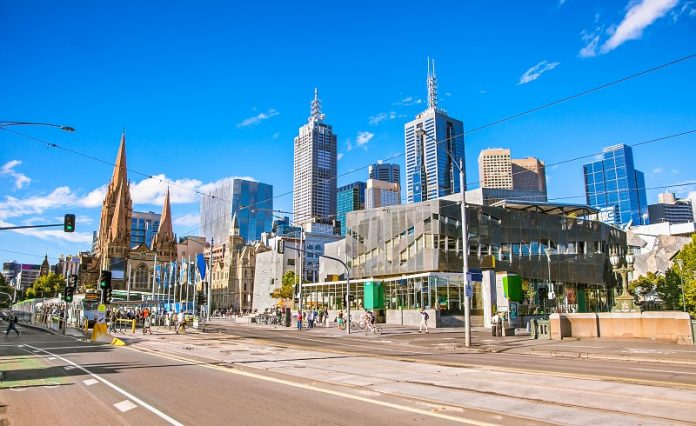 Federation Square in Melbourne on suny day, Australia.